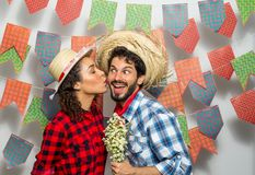 Festa Junina: party in Brazil. Man and woman dressing checked pa. Festa Junina: party in Brazil in the month of june. Man and women dressing checked pattern Royalty Free Stock Photo