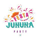 Happy fathers day. Festa junina party design. Vector background with fireworks and garland. Vector illustration. For poster, card, web, invitation Stock Photos