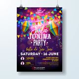 Festa Junina Party Flyer Illustration with Flags and Paper Lantern on Firework Background. Vector Brazil June Festival. Design for Invitation or Holiday Royalty Free Stock Image