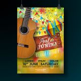 Festa Junina Party Flyer Illustration with Typography Design on Vintage Wood Board and Acoustic Guitar. Flags and Paper. Lantern on Yellow Background. Vector Royalty Free Stock Image