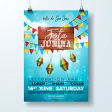 Festa Junina Party Flyer Illustration with typography design on vintage wood board. Flags and Paper Lantern on Blue Sky. Background. Vector Brazil June Festival Royalty Free Stock Image
