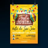 Festa Junina Party Flyer Illustration with typography design on vintage wood board. Flags and Paper Lantern on Yellow. Background. Vector Brazil June Festival Stock Photos