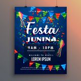 Festa junina party flyer poster with confetti and garlands decor Stock Photos