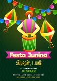 Festa Junina party invitation card design with Brazilian man playing drum instrument on green background. Festa Junina party invitation card design with royalty free illustration