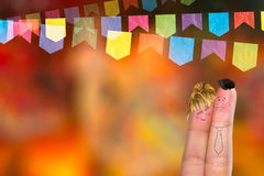 Festa Junina Party with this lovely finger couple Royalty Free Stock Image