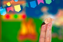 Festa Junina Party with this lovely finger couple Stock Images