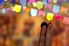 Festa Junina Party with this lovely finger couple Royalty Free Stock Images