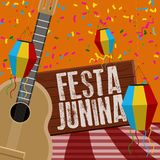 Festa junina poster. Brazilian festival. Festa junina poster with lanterns and guitar. Brazilian festival - Vector stock illustration
