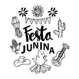 Festa Junina Poster Brazilian June Festival party decoration. Black and white vector illustration