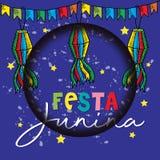 Festa Junina Poster Brazilian June Festival party decoration. Blue background vector illustration
