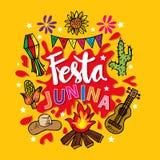 Festa Junina Poster Brazilian June Festival party decoration. Yellow background vector illustration