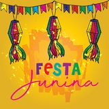 Festa Junina Poster Brazilian June Festival party decoration. Yellow background royalty free illustration