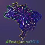 Festa Junina poster. Brazilian June party. Latin American holiday background. Vector illustration Royalty Free Stock Photos