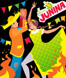 Festa junina poster. Girl and boy dancing at Brazil june party Stock Photography