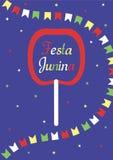 Festa Junina poster A inscrição na maçã no caramelo, em uma festão das bandeiras e em estrelas em um escuro - fundo azul ilustração do vetor