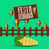 Festa junina poster. Brazilian festival. Festa junina poster with lanterns and corn. Brazilian festival - Vector stock illustration