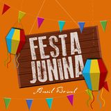 Festa junina poster. Brazilian festival. Festa junina poster with lanterns, pennants and text. Brazilian festival - Vector vector illustration