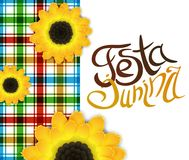 Festa junina poster with lettering and sunflowers. June party. Festa junina poster with hand drawn lettering, square pattern with countryside motives and Royalty Free Stock Image