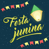 Festa Junina, rotulação do partido de junho do brasileiro com balão e fl Foto de Stock