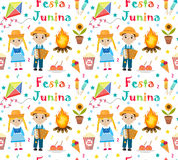 Festa Junina seamless pattern. Brazilian Latin American festival endless background. Repeating texture with traditional. Symbols. Vector illustration Stock Image