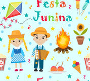 Festa Junina seamless pattern. Brazilian Latin American festival endless background. Repeating texture with traditional. Symbols. Vector illustration Royalty Free Stock Photos