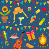 Festa Junina seamless pattern. Brazilian Latin American festival endless background. Repeating texture with traditional Royalty Free Stock Photography