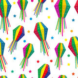 Festa Junina seamless pattern. Brazilian Latin American festival endless background. Repeating texture with traditional Royalty Free Stock Images