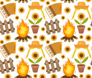 Festa Junina seamless pattern. Brazilian Latin American festival endless background. Repeating texture with traditional. Symbols. Vector illustration Stock Photos
