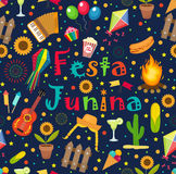 Festa Junina seamless pattern. Brazilian Latin American festival endless background. Repeating texture with traditional. Symbols. Vector illustration Royalty Free Stock Photo
