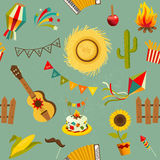 Festa junina seamless pattern. Vector hand drawn illustration Stock Photography
