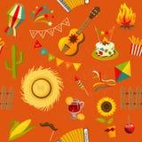 Festa junina seamless pattern. Vector hand drawn illustration Stock Photos