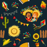 Festa junina seamless pattern. Vector hand drawn illustration Royalty Free Stock Image