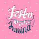 Festa Junina Semestra kortdesignen för den brasilianJuni festen de Sao Joao på bandbakgrunden Bokstäverillustration Royaltyfria Bilder