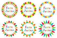 Festa Junina set frame with space for text. Brazilian Latin American festival blank template for your design, isolated Stock Image
