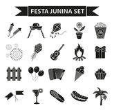 Festa Junina set icons, black silhouette style. Brazilian festival, celebration of traditional symbols. Collection of Stock Image