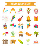 Festa Junina set icons, flat style. Brazilian Latin American festival, celebration of traditional symbols. Collection of Stock Photography