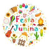 Festa Junina set of icons in a round shape. Brazilian Latin American festival collection of design elements with Royalty Free Stock Photos