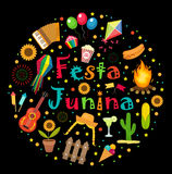 Festa Junina set of icons in a round shape. Brazilian Latin American festival collection of design elements with Royalty Free Stock Photo