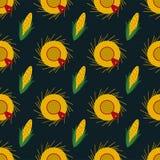 Festa Junina Straw Hats and Corn Seamless Pattern. Festa Junina annual Brazil June celebration straw hats with red ribbon and corn seamless pattern in vintage Royalty Free Stock Photos