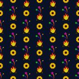 Festa Junina Sunflowers and Fire Seamless Pattern. Festa Junina annual Brazil June celebration yellow sunflowers, fire, and shooting stars seamless pattern in Stock Image