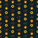 Festa Junina Sunflowers and Fire Seamless Pattern. Festa Junina annual Brazil June celebration yellow sunflowers, fire, and shooting stars seamless pattern in Royalty Free Stock Photos