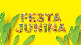 Festa Junina typography festival design on paper art and flat style with Party Flags and Paper Lantern, Can use for Greeting Card. Invitation or Holiday Poster royalty free illustration