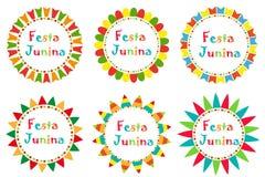 Festa Junina uppsättningram med utrymme för text Brasiliansk latin - amerikansk festivalmellanrumsmall för din design som isolera royaltyfri illustrationer
