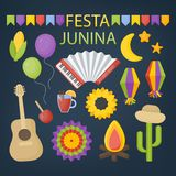 Festa Junina vector flat icon set. Party celebration collection of flat design of food, music instruments, lanterns and garlands isolated on the dark Royalty Free Stock Image