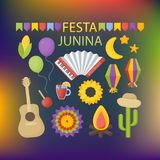 Festa Junina vector flat icon set. Party celebration collection of flat design of food, music instruments, lanterns and garlands isolated on the dark Royalty Free Stock Photography