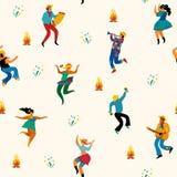 Festa Junina. Vector seamless pattern. Festa Junina. Vector seamless pattern with dancing men and women in bright costumes. Latin American holiday, the June Stock Image