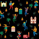 Festa Junina. Vector seamless pattern. Festa Junina. Vector seamless pattern with dancing men and women in bright costumes. Latin American holiday, the June Stock Photography