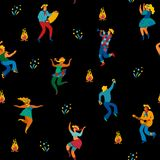 Festa Junina. Vector seamless pattern. Festa Junina. Vector seamless pattern with dancing men and women in bright costumes. Latin American holiday, the June Royalty Free Stock Photography
