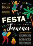 Festa Junina. Vector template. Festa Junina. Vector template for Latin American holiday, the June party of Brazil. Design for card, poster, banner, flyer Stock Photos
