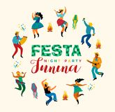 Festa Junina. Vector template. Festa Junina. Vector template for Latin American holiday, the June party of Brazil. Design for card, poster, banner, flyer Stock Images